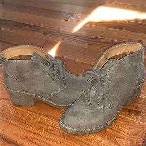 Mossimo Supply Co. Taupe suede lace up booties 6.5
